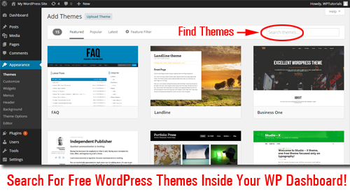 Find Free WordPress Themes Without Leaving Your Own WP Dashboard!