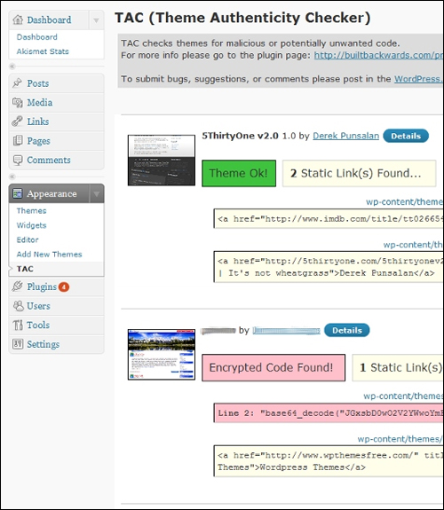 Theme Authenticity Checker (TAC) - WP Plugin