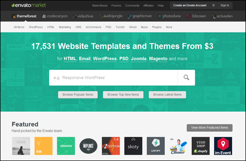 ThemeForest - marketplace of WordPress themes