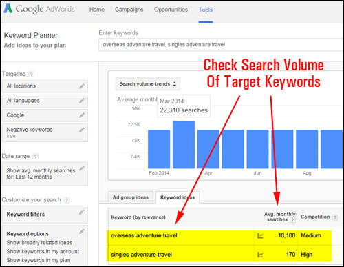 Keyword Planner Tool - Google AdWords