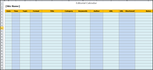 Simple Content Template Created With Spreadsheet