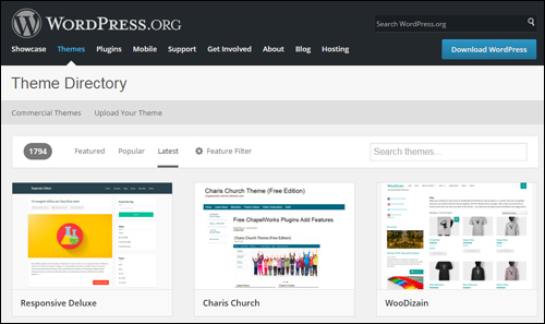 WordPress free themes repository