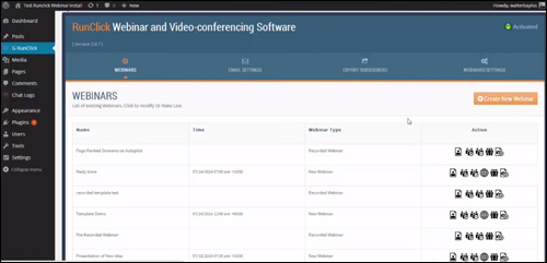 RunClick webinar and video conferencing plugin for WP