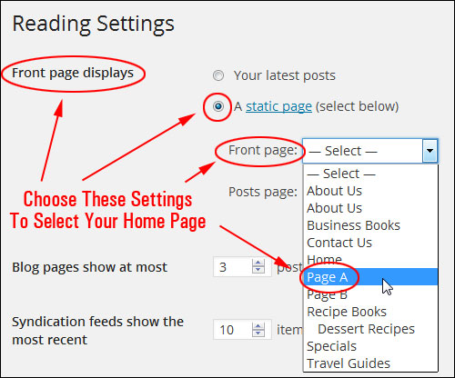 How To Select Any Page As The Site's Home Page In WordPress