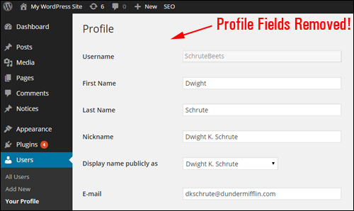 Hide User Profile Fields