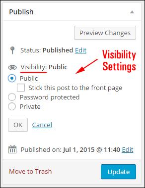 (WordPress Post Visibility Settings)