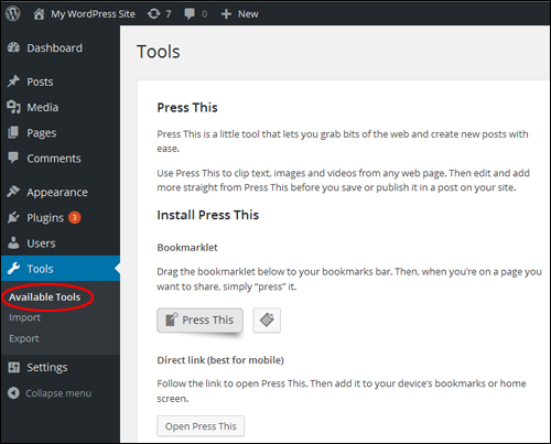 WordPress version 4.2